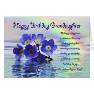 Nieta del cumpleaños con nomeolvides tarjeta de felicitación