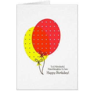 Nieta en globos de las tarjetas de cumpleaños de