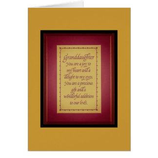 nieta especial tarjeta de felicitación
