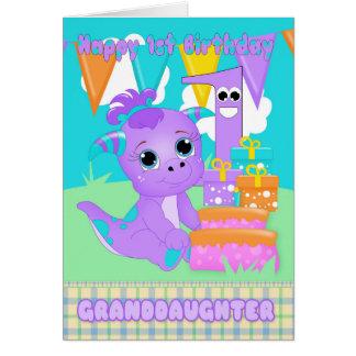 Nieta, monstruo lindo del 1r cumpleaños pequeño tarjeta de felicitación