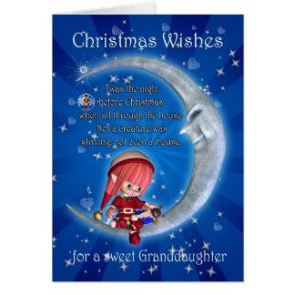 Nieta, noche antes del navidad con el duende tarjeta de felicitación