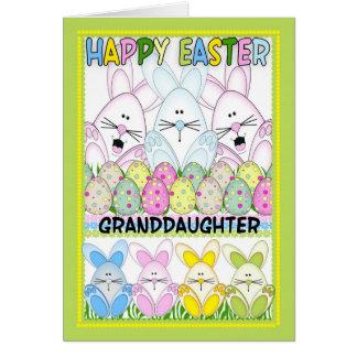 Nieta Pascua con los conejitos y los huevos Tarjeta De Felicitación