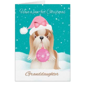 Nieta, perro de Shih Tzu con el gorra lindo de Tarjeta De Felicitación