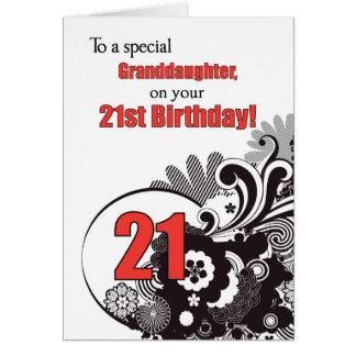 Nieta, remolinos religiosos del 21ro cumpleaños tarjeta