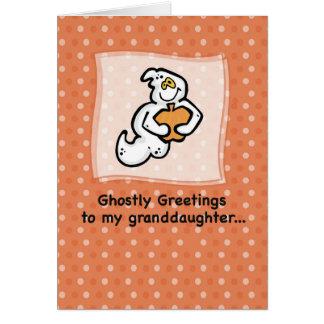 Nieta, saludos fantasmales tarjeta de felicitación