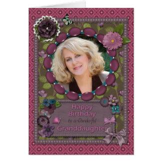 Nieta, tarjeta de la foto para un cumpleaños