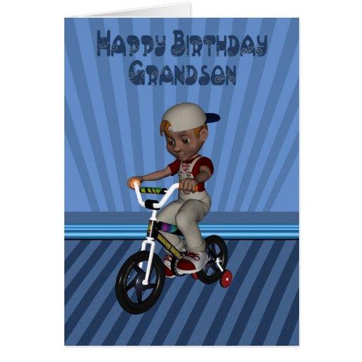 Nieto del feliz cumpleaños, muchacho en una bicicl felicitación