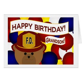 ¡Nieto - héroe del bombero del feliz cumpleaños! Tarjeta De Felicitación