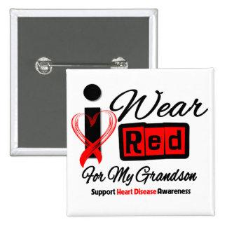 Nieto - llevo enfermedad cardíaca roja de la cinta chapa cuadrada 5 cm