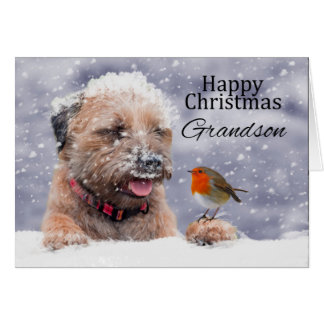 Nieto, navidad, tarjeta del perro de Terrier de