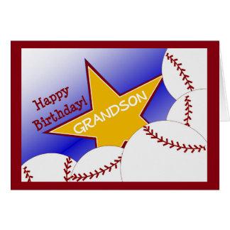 Nieto - nieto cariñoso del béisbol del feliz tarjeta de felicitación