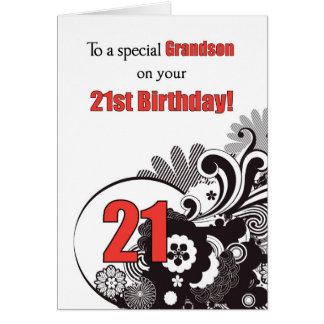 Nieto, remolinos religiosos del 21ro cumpleaños tarjeta de felicitación