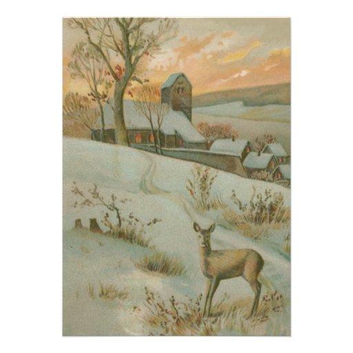 Nieve de la iglesia de los ciervos del campo del comunicados personalizados