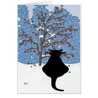 Nieve de observación del gato negro tarjeta de felicitación