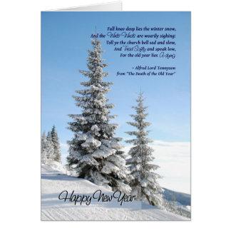 Nieve del Año Nuevo en el poema de las coníferas Tarjeta De Felicitación