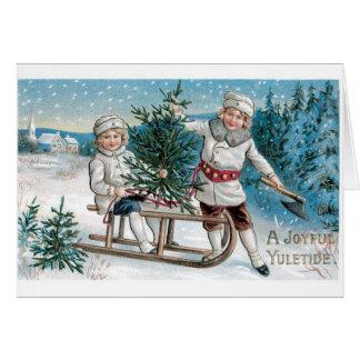 Nieve del árbol del trineo de 030 del vintage tarjeta de felicitación