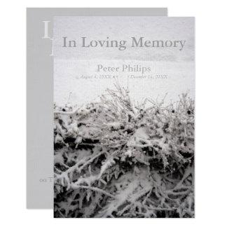 Nieve del invierno en entierro cariñoso de la invitación 8,9 x 12,7 cm