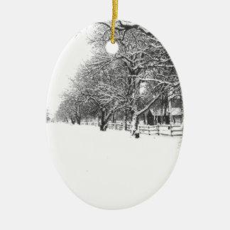Nieve del invierno en la calle de la conferencia adorno navideño ovalado de cerámica