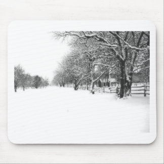 Nieve del invierno en la calle de la conferencia alfombrilla de ratón