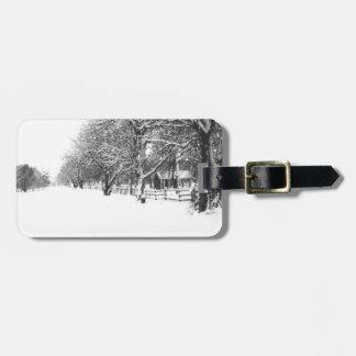 Nieve del invierno en la calle de la conferencia etiquetas para maletas