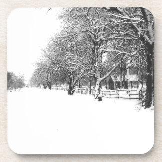 Nieve del invierno en la calle de la conferencia posavaso