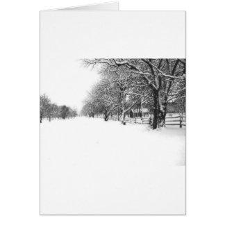Nieve del invierno en la calle de la conferencia tarjeta de felicitación