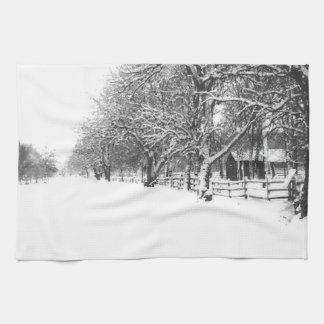 Nieve del invierno en la calle de la conferencia toallas de cocina