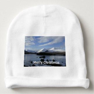 Nieve del navidad en el soporte negro, Escocia Gorrito Para Bebe