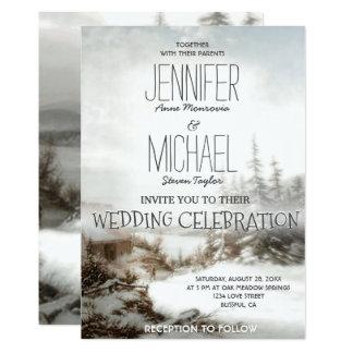 Nieve del país de la invitación del boda