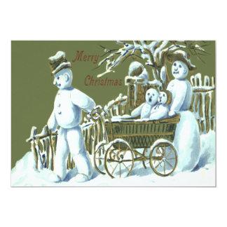 Nieve del paseo del paseo de la familia del muñeco invitación 12,7 x 17,8 cm