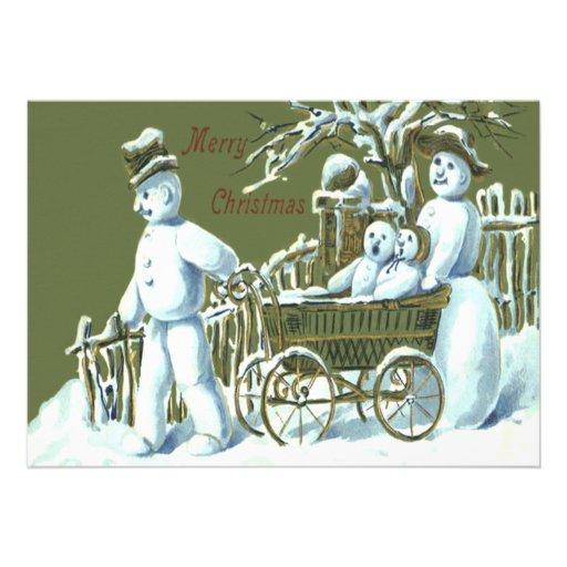 Nieve del paseo del paseo de la familia del muñeco invitacion personalizada