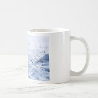Nieve en un prado en macro del invierno taza de café