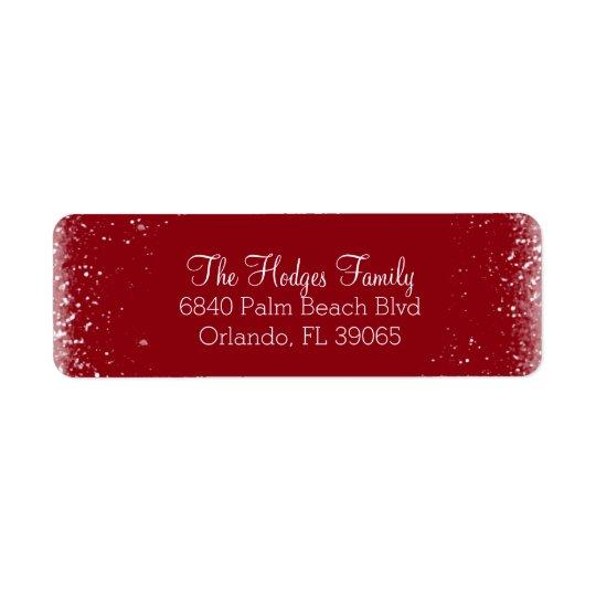 Nieve y etiqueta roja del remite de Frost Etiquetas De Remite