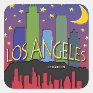 Nighlife del horizonte de Los Ángeles Pegatina Cuadrada