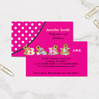 Nin@era linda o cuidado de niños tarjeta de negocios