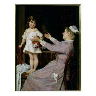 Niña con una muñeca y su enfermera, 1896 postal