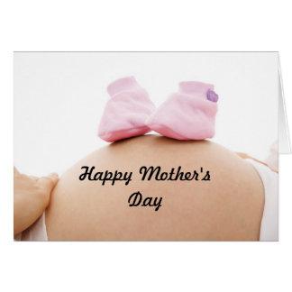 Niña de la mujer embarazada del día de madre tarjeta de felicitación