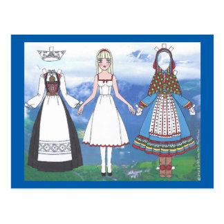 Nina de la postal de papel de la muñeca de Noruega