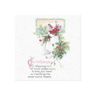 Niña de la tarjeta de Navidad del vintage con el P Impresión En Lona