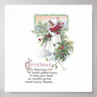 Niña de la tarjeta de Navidad del vintage con el P Posters