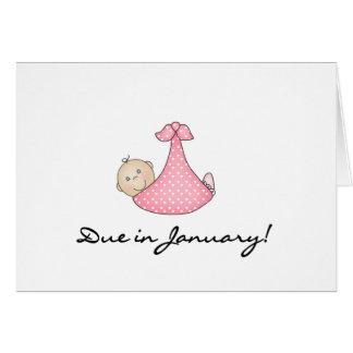 Niña debida en enero tarjeta de felicitación