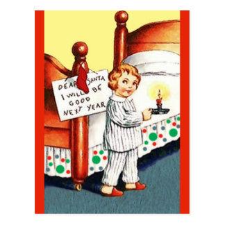 Niña divertida, linda en los PJ: Navidad del Postal