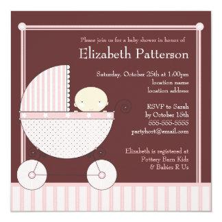 Niña dulce en fiesta de bienvenida al bebé del invitación 13,3 cm x 13,3cm
