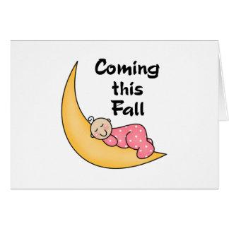 Niña el caída de la luna tarjeta de felicitación