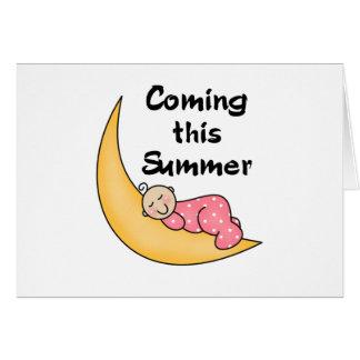 Niña el verano de la luna tarjeta de felicitación