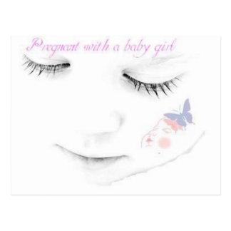 Niña embarazada tarjeta postal
