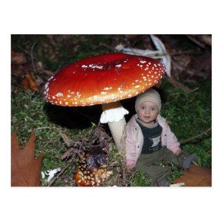 Niña exploradora - enano bajo el hongo de mosca postal