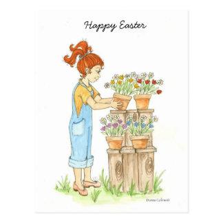 Niña feliz de Pascua Postal