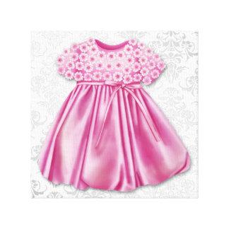 Niña gris y rosada del vestido del rosa del vestid impresión en tela
