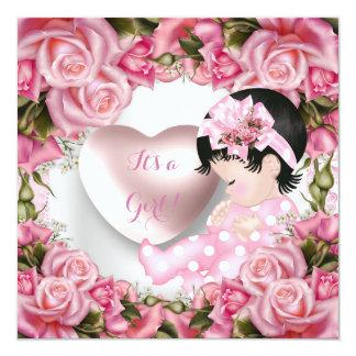 Niña linda 2 de los rosas del rosa de la niña de invitación 13,3 cm x 13,3cm